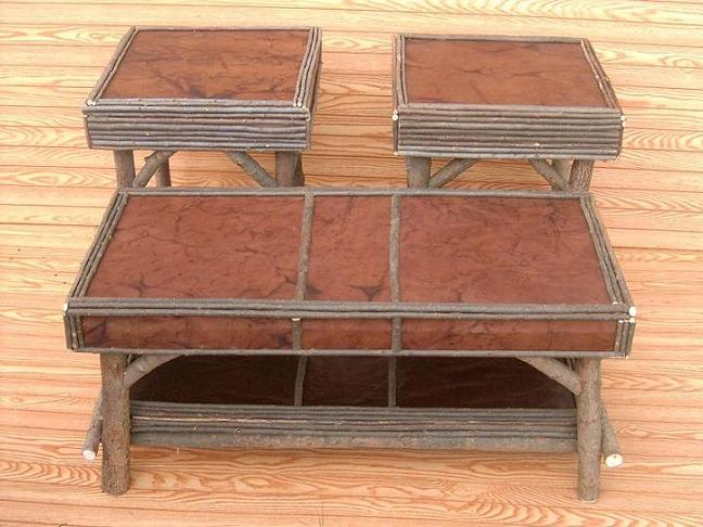 Item# 334 Leather Coffee Table With End Table