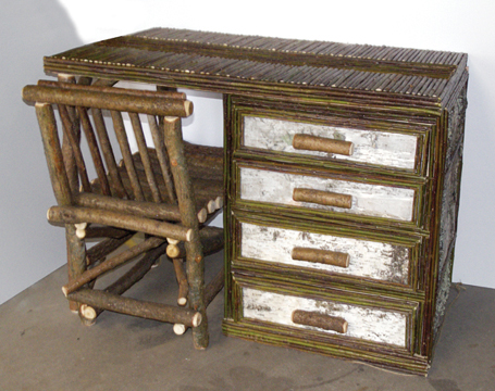 This Delightful Desk Is Covered In Birch Bark And Willow Twigs And Has 4  Full Depth Drawers On Metal Hardware   And Includes A Cute Twig Chair That  Fits ...