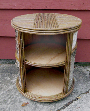 Item# 404 - Round Birch Bark Open Nightstand